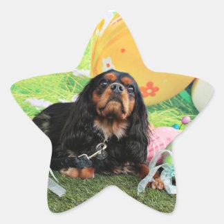 Pascua - perro de aguas de rey Charles arrogante - Calcomania Forma De Estrella