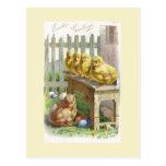Pascua - polluelos, huevos y banco - postal antigu
