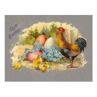 Pascua - polluelos, huevos y gallo - postal