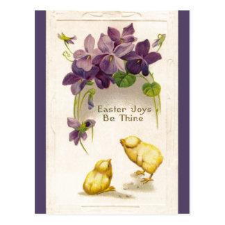 Pascua - postal antigua amarilla de los polluelos