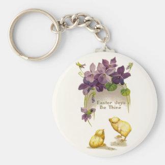 Pascua - postal antigua amarilla de los polluelos  llavero redondo tipo pin