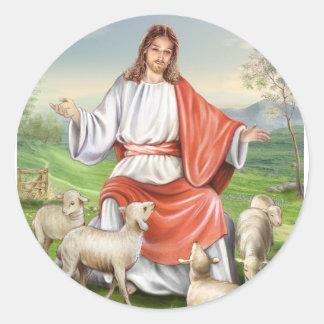 Pascua religiosa, Jesús con las ovejas. Pascua Pegatina Redonda
