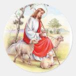 Pascua religiosa, Jesús con las ovejas Pegatina Redonda