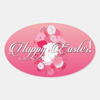 """Pascua - rosa floral del huevo de """"Pascua feliz"""" Pegatina Ovalada"""