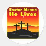 Pascua significa que él vive etiquetas redondas