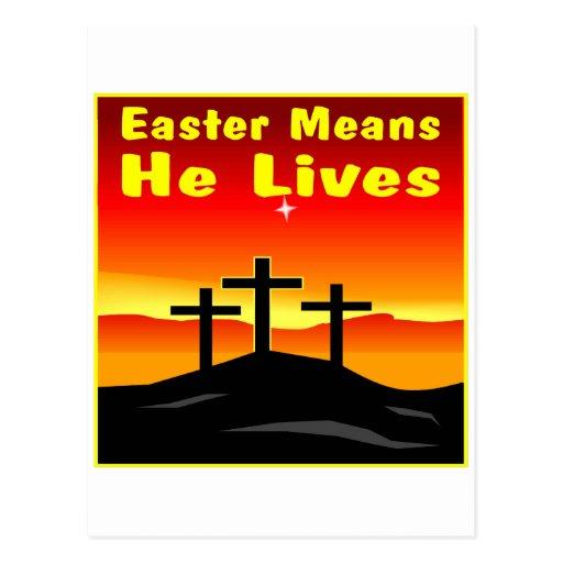 Pascua significa que él vive tarjeta postal