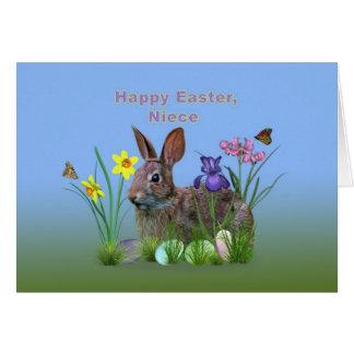Pascua, sobrina, flores, huevos, y rabino tarjeta de felicitación