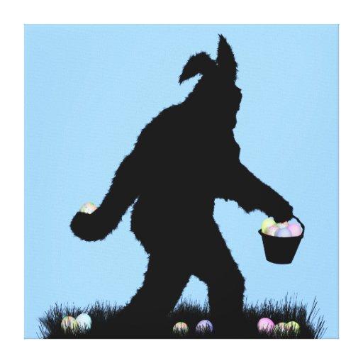 Pascua Squatch con los oídos del conejito Lona Envuelta Para Galerías