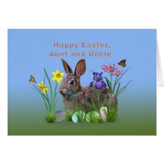 Pascua, tía y tío, flores, huevos, conejo tarjeta de felicitación