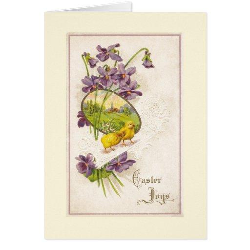 Pascua - violetas de los polluelos y postal antigu tarjetón