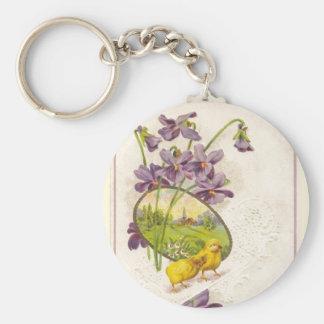 Pascua - violetas de los polluelos y postal llavero redondo tipo pin