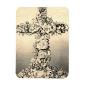 Pascua y cruz floral de Domingo de Ramos Iman Rectangular
