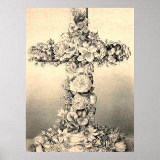 Pascua y cruz floral de Domingo de Ramos Póster