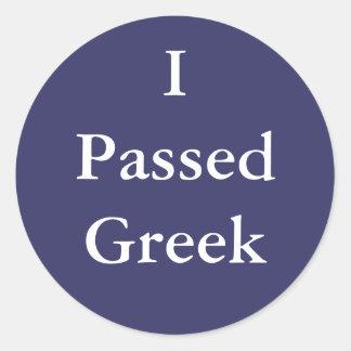 Pasé al Griego Etiqueta Redonda