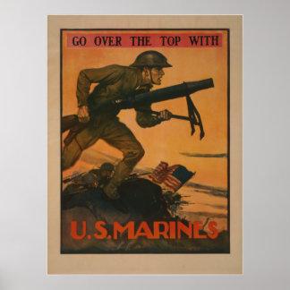Pase el top con los infantes de marina de los E.E. Póster