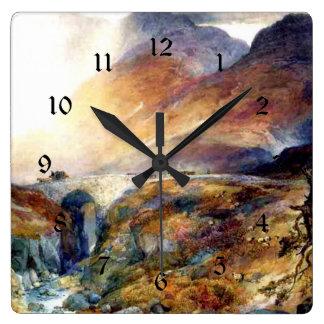 Pase en Glencoe, pintura de la bella arte de Reloj Cuadrado