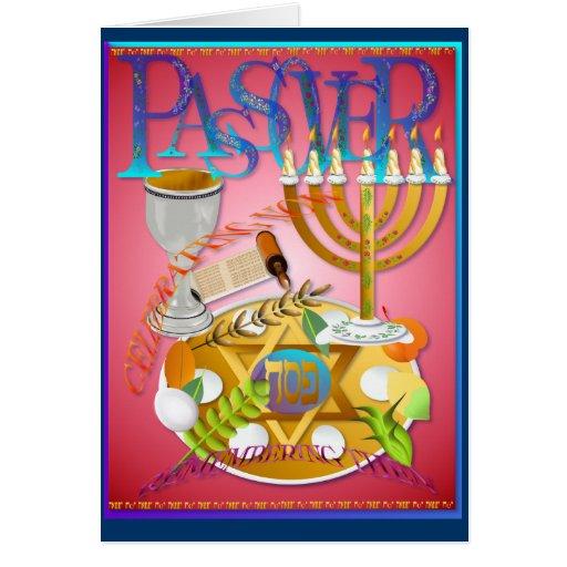 Pase sobre la tarjeta de Seder