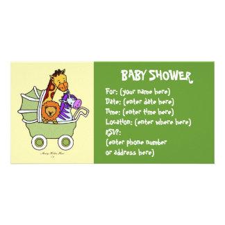 Paseo animal 5 fiestas de bienvenida al bebé tarjeta fotografica personalizada