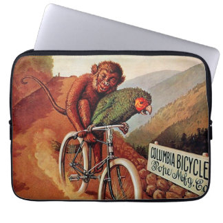 Paseo chistoso de la bicicleta del loro del mono d funda ordendadores