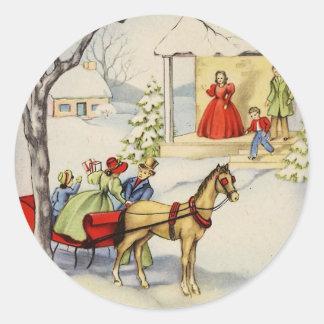 paseo Christmas_sticker del trineo del vintage Pegatina Redonda