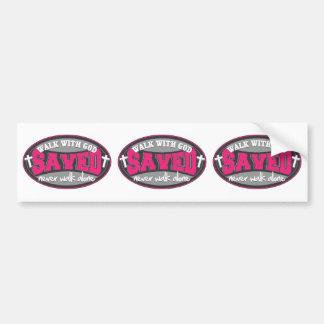 Paseo con dios (rosa) pegatina de parachoque