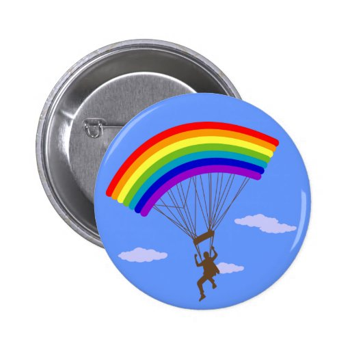 Paseo con el botón del arco iris pin