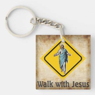 PASEO CON JESÚS LLAVERO CUADRADO ACRÍLICO A UNA CARA