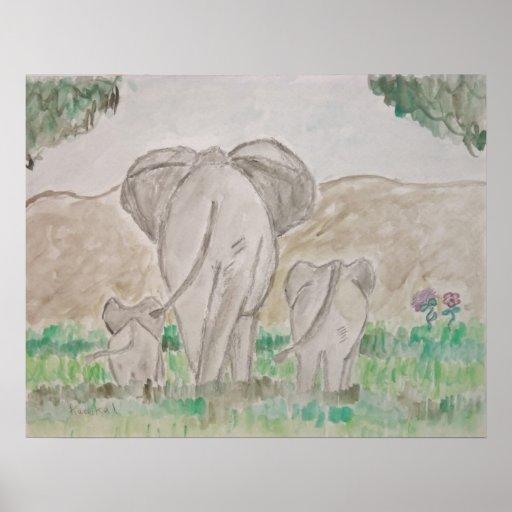 paseo con los elefantes poster