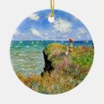 Paseo de Claude Monet Clifftop Adorno Redondo De Cerámica