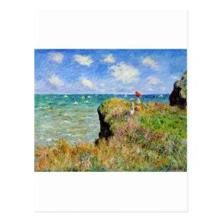 Paseo de Claude Monet Clifftop Tarjeta Postal