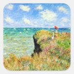 Paseo de Clifftop en Pourville de Claude Monet Pegatina Cuadrada