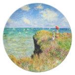 Paseo de Clifftop en Pourville de Claude Monet Plato Para Fiesta