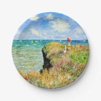 Paseo de Clifftop en Pourville de Claude Monet Platos De Papel