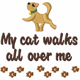 Paseo de gato sudadera bordada con capucha
