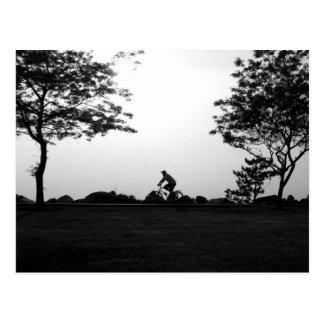 Paseo de la bici de la tarde tarjeta postal