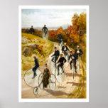 Paseo de la bicicleta del vintage en el país poster