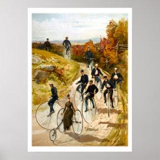 Paseo de la bicicleta del vintage en el país póster