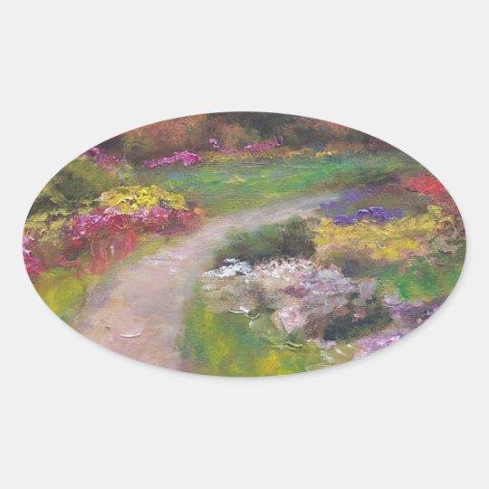 Paseo de la flor pegatina ovalada