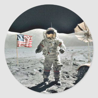 Paseo de la luna con la bandera americana pegatina redonda