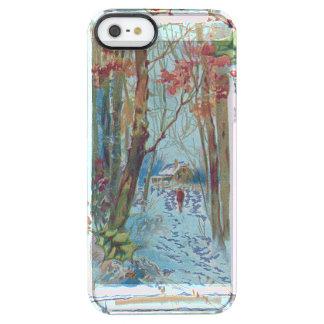 Paseo de la nieve del Winterberry del acebo de la Funda Clear Para iPhone SE/5/5s