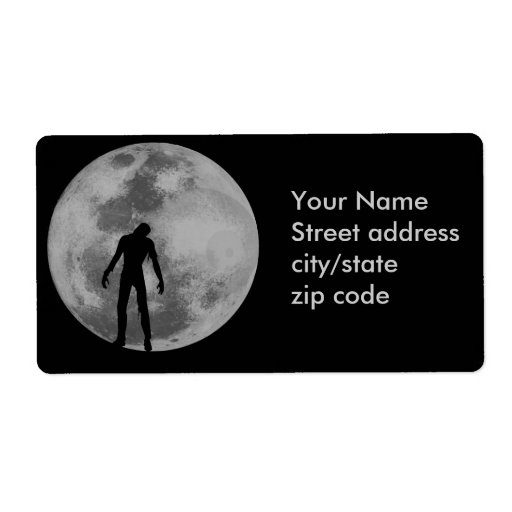 Paseo de la noche de la luna del zombi etiqueta de envío