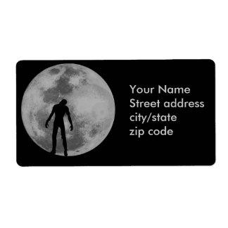 Paseo de la noche de la luna del zombi etiquetas de envío