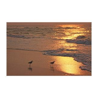 Paseo de la playa en la salida del sol impresion de lienzo