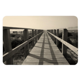 Paseo de la playa en sepia imán foto rectangular