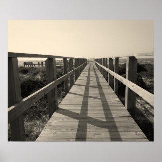 Paseo de la playa en sepia impresiones