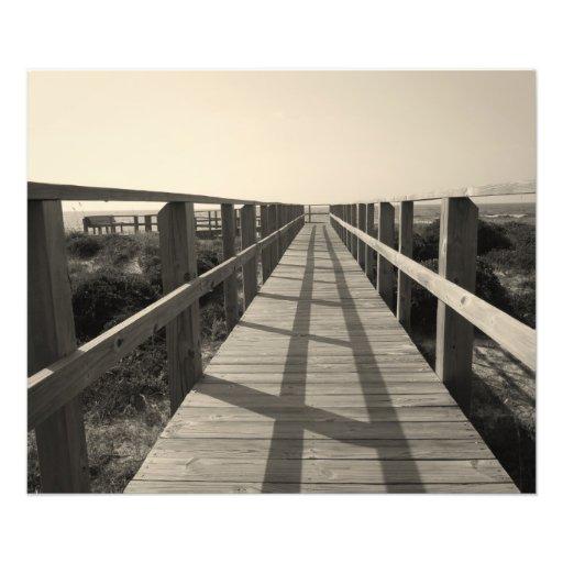 Paseo de la playa en sepia fotografia