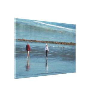 Paseo de la playa en una impresión de la pintura a impresión en lona