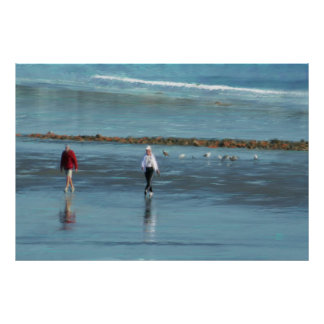 Paseo de la playa en una lona del estándar del ace póster