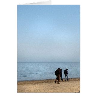 Paseo de la playa tarjeta de felicitación