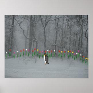 Paseo de la primavera del pingüino impresiones